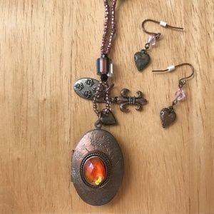 Jewelry - Locket Necklace Heart Earrings Set fleur de lis